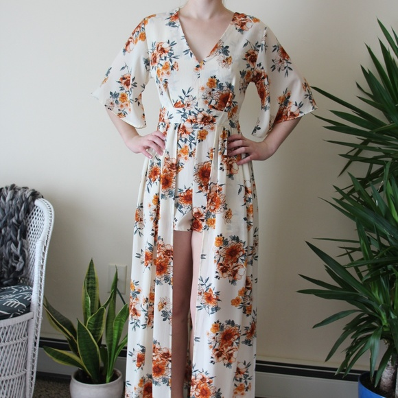 698a291badd NWT Rue21 Floral Kimono Maxi Romper - Size Medium